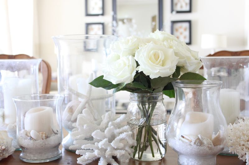 coastal centerpiece with roses