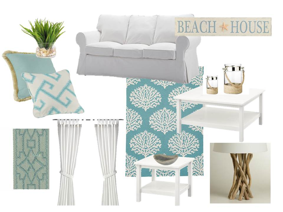 Aqua And White Coastal Living Room Petteemoodboards