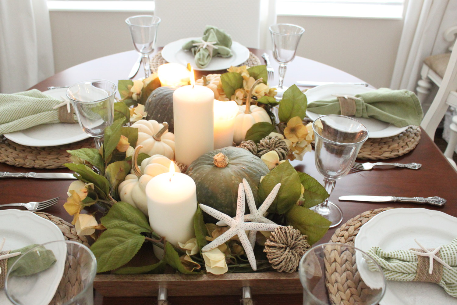 Then I Replaced The Centerpiece With This Wooden Tray Full Of Pillar Candles Pumpkins Greenery And Dried Hydrangeas