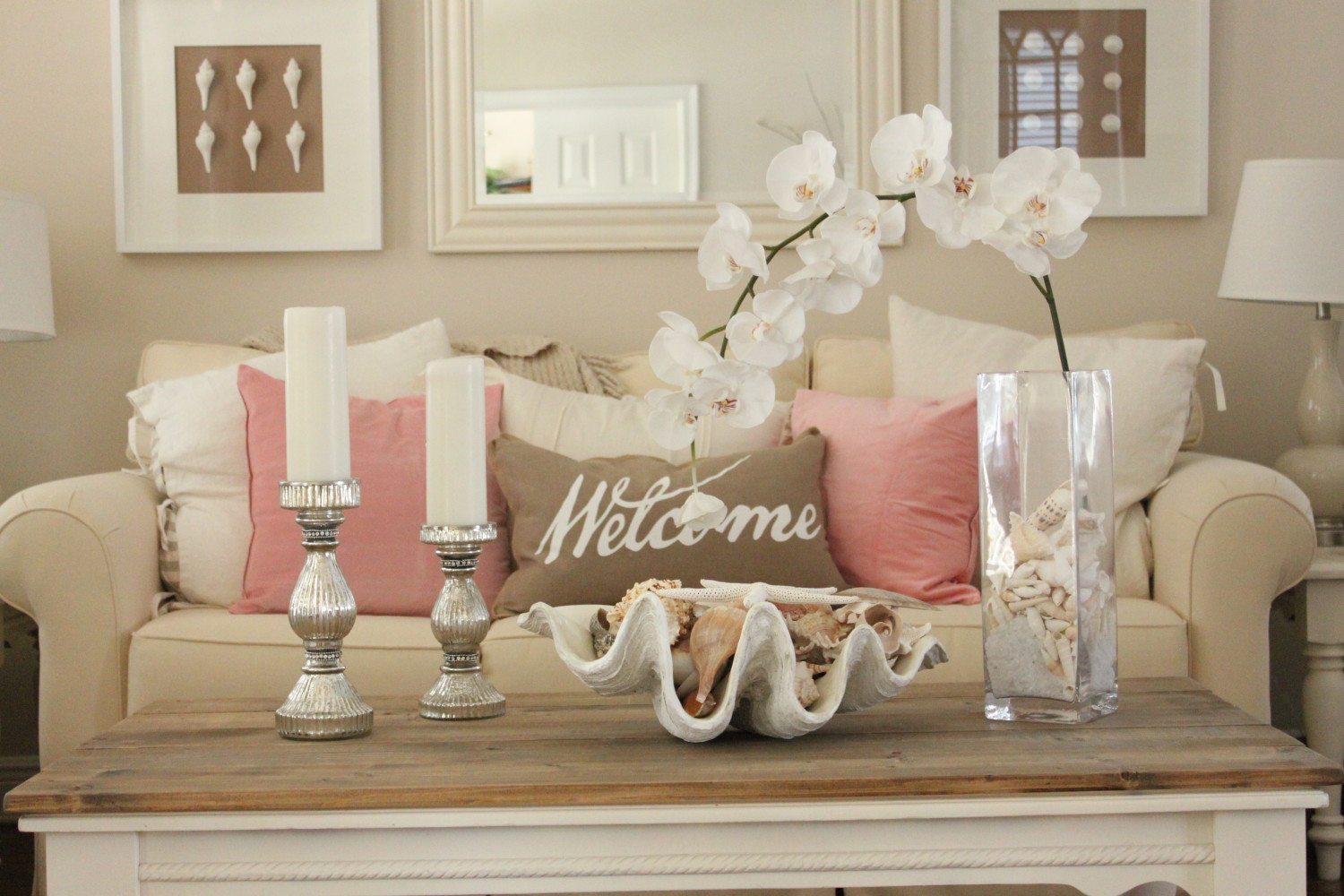 pink decor for living room and dining room - starfish cottage