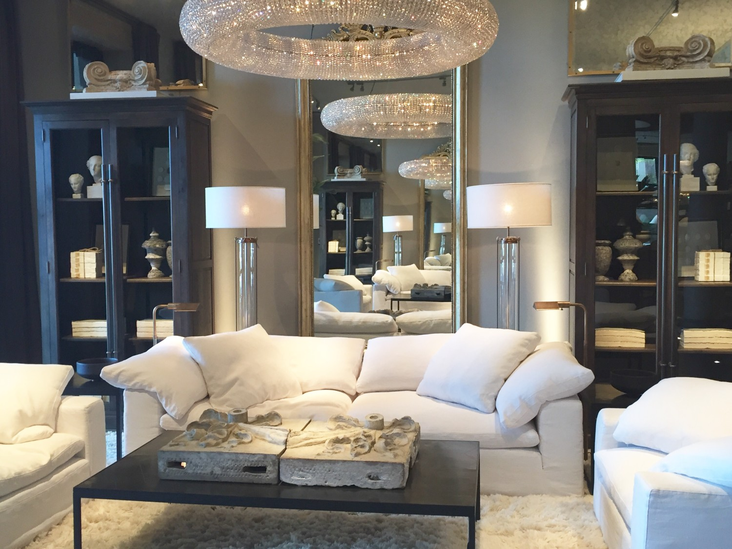 Restoration hardware bedroom furniture - The First Level Was Filled With Gorgeous Living Room And Bedroom Furniture Here Are A Few Photos Of My Favorite Seating Areas