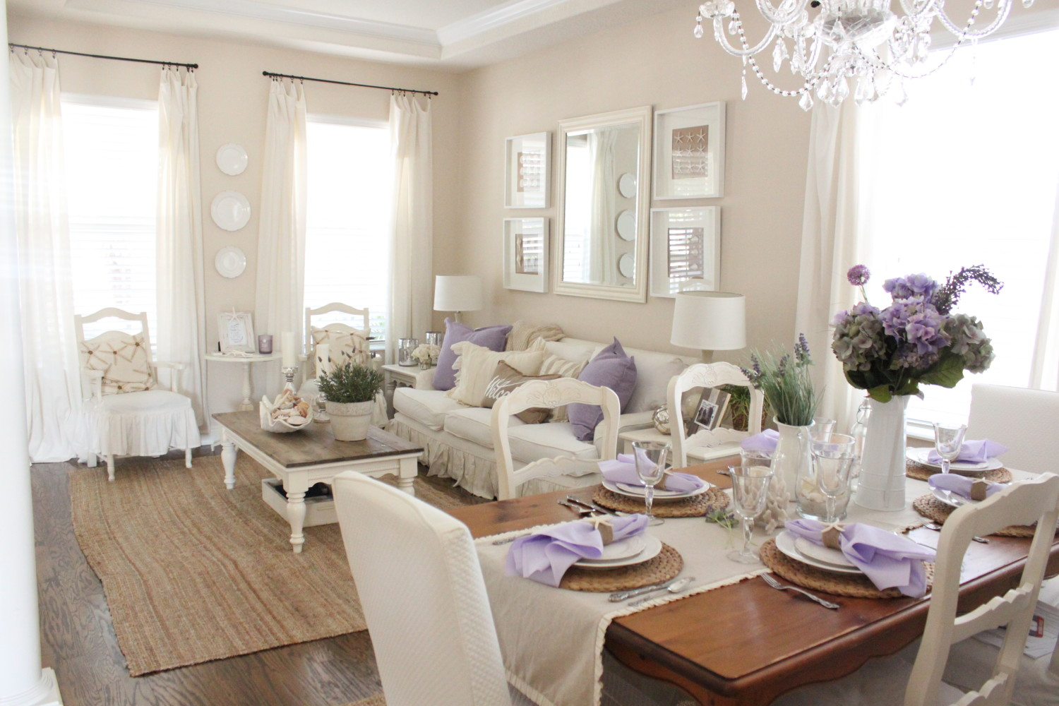 Living Room And Dining Room Color Schemes Lavender In The Dining Room Starfish Cottage