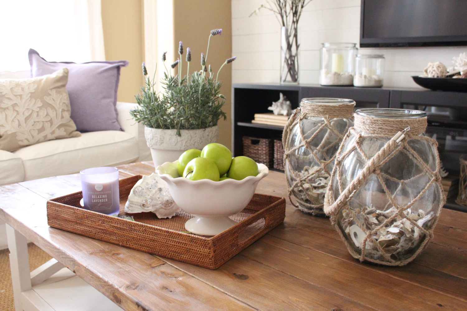 Starfish cottage lavender in the family room starfish cottage im still loving our new custom coffee table and these two rope wrapped vases also from pier 1 click here for details floridaeventfo Choice Image