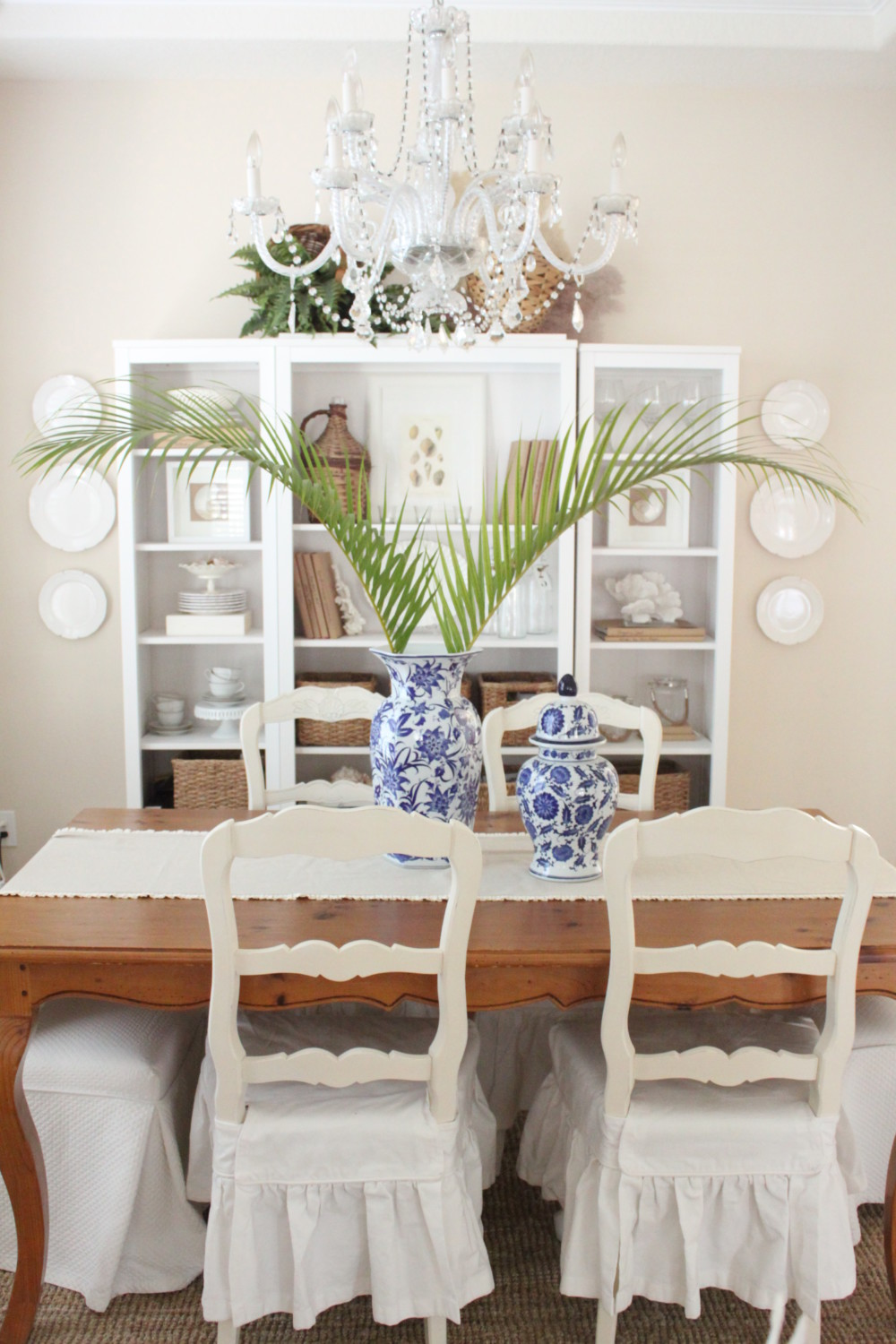 Blue and White Living Room and Dining Room - Starfish Cottage