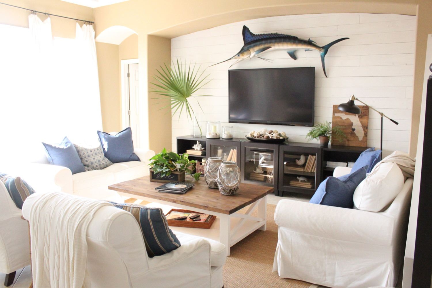 Living Room White Family Room blue and white family room the waterside home tour starfish tour