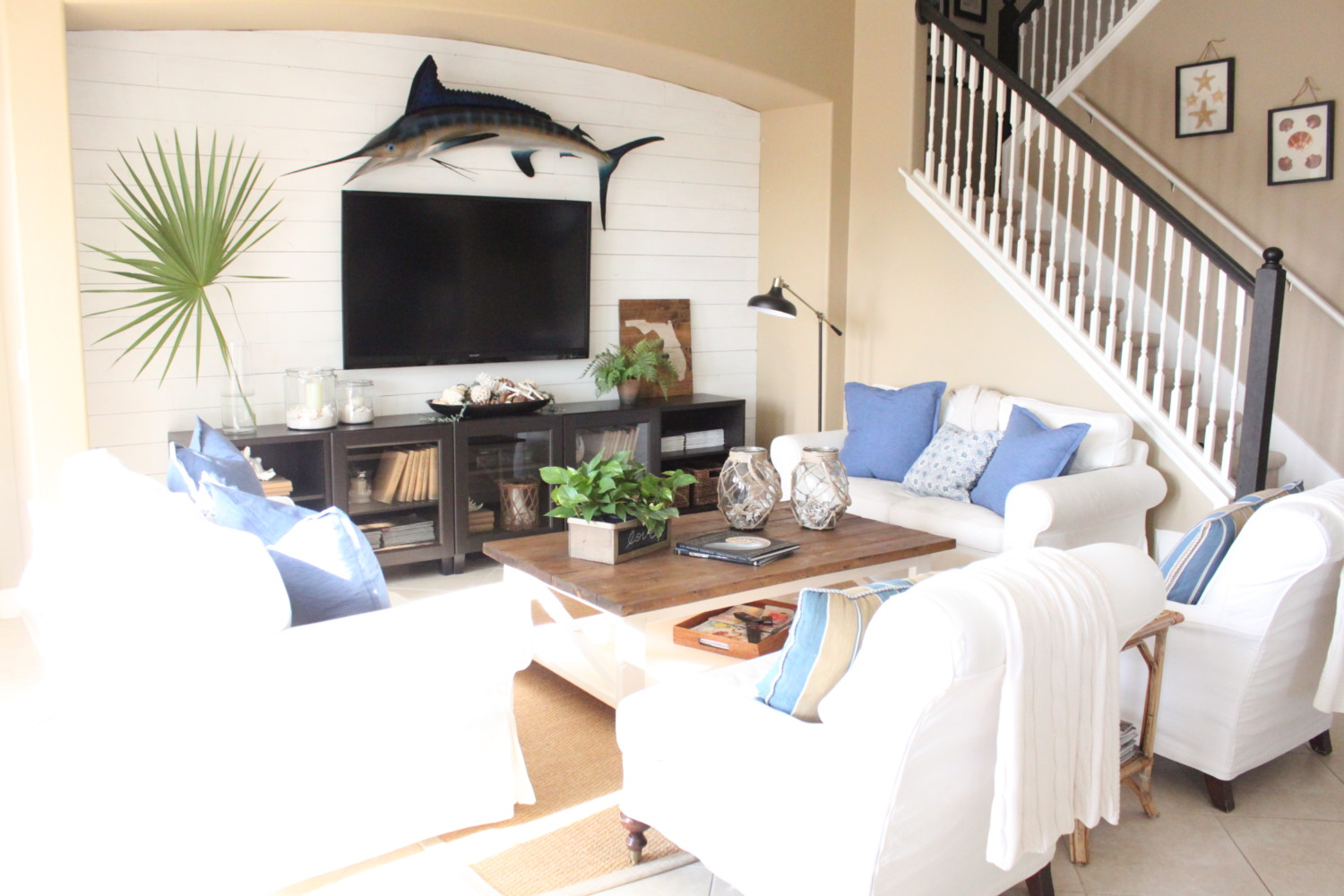 Living Room White Family Room blue and white family room the waterside home tour starfish all this month i have been sharing photos of our house updated for summer with today am back some photos
