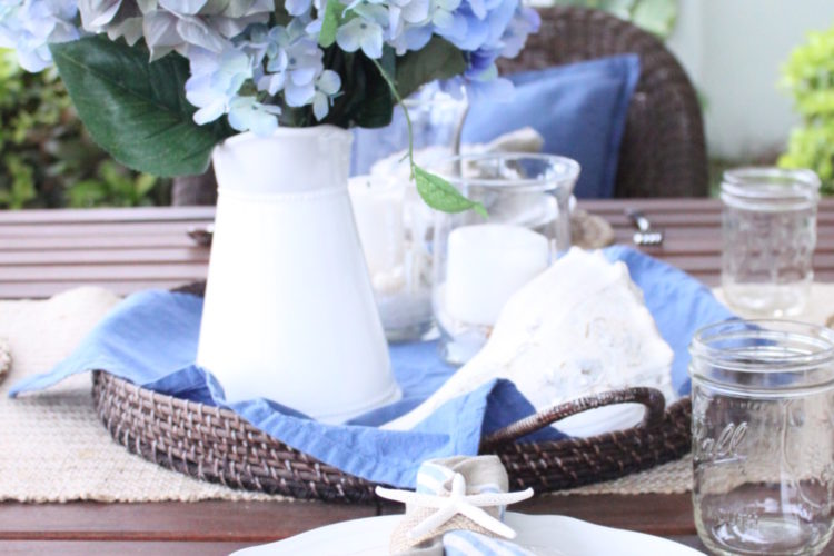 Blue and White Outdoor Table