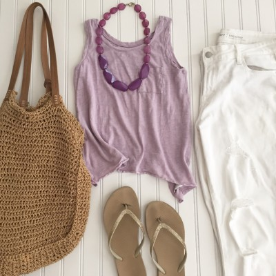 Starfish Style: Lavender Tank+White Ripped Jeans+Flip Flops