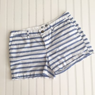 Starfish Style: New Favorite- Blue and White Stripe Shorts