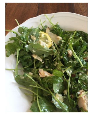 Chicken and Almond Arugula Salad with Lemon Mustard Vinaigrette
