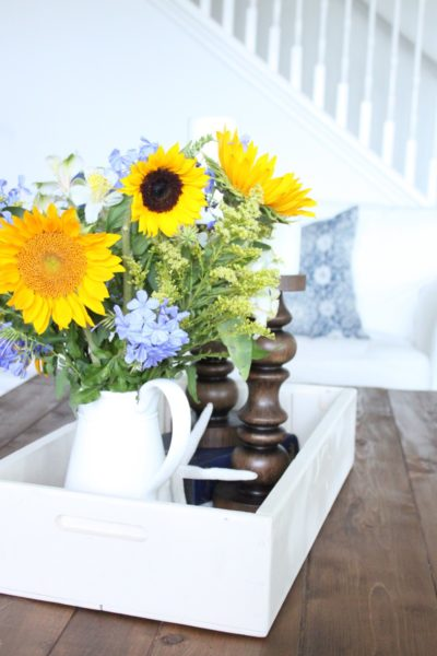 June 2017- Blue, White and Yellow in the Family Room