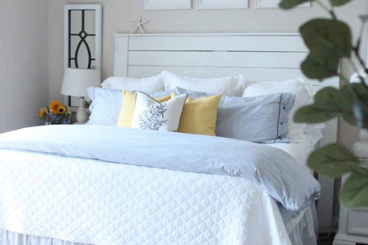 June 2017- Blue, White and Yellow in the Bedroom