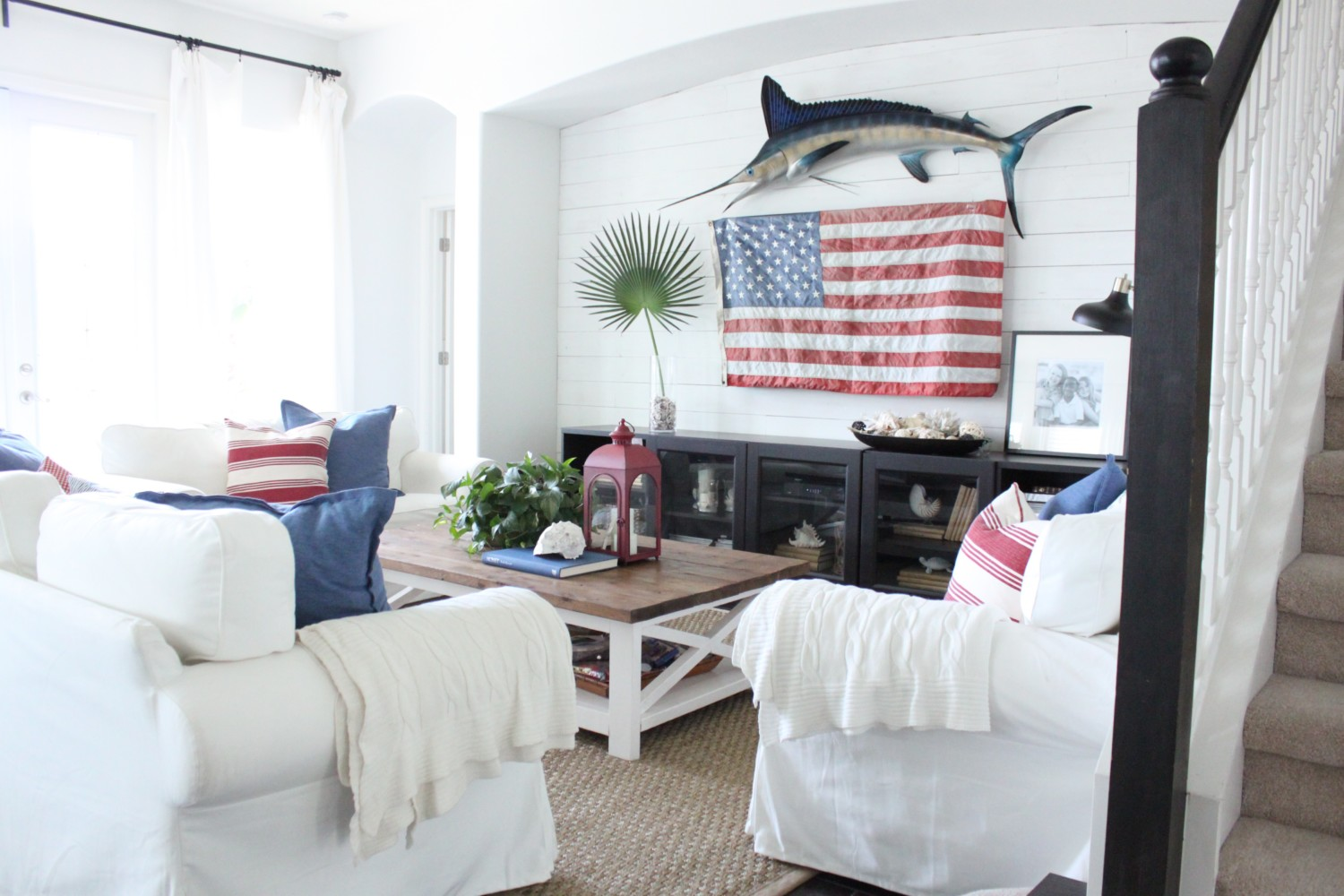 Red White And Blue Decor For The Family Room
