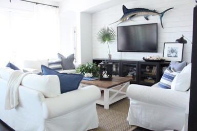 Late Summer Family Room- Blues and Greys