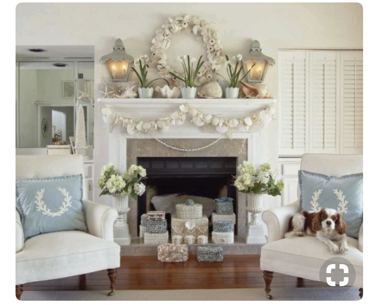 i have a beautiful pinterest board called coastal christmas decor that i have kept for years here is an image i have always loved and it has served as